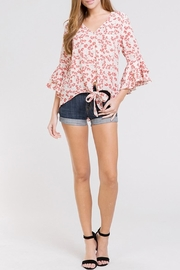 BaeVely Floral Front-Tie Top - Product Mini Image
