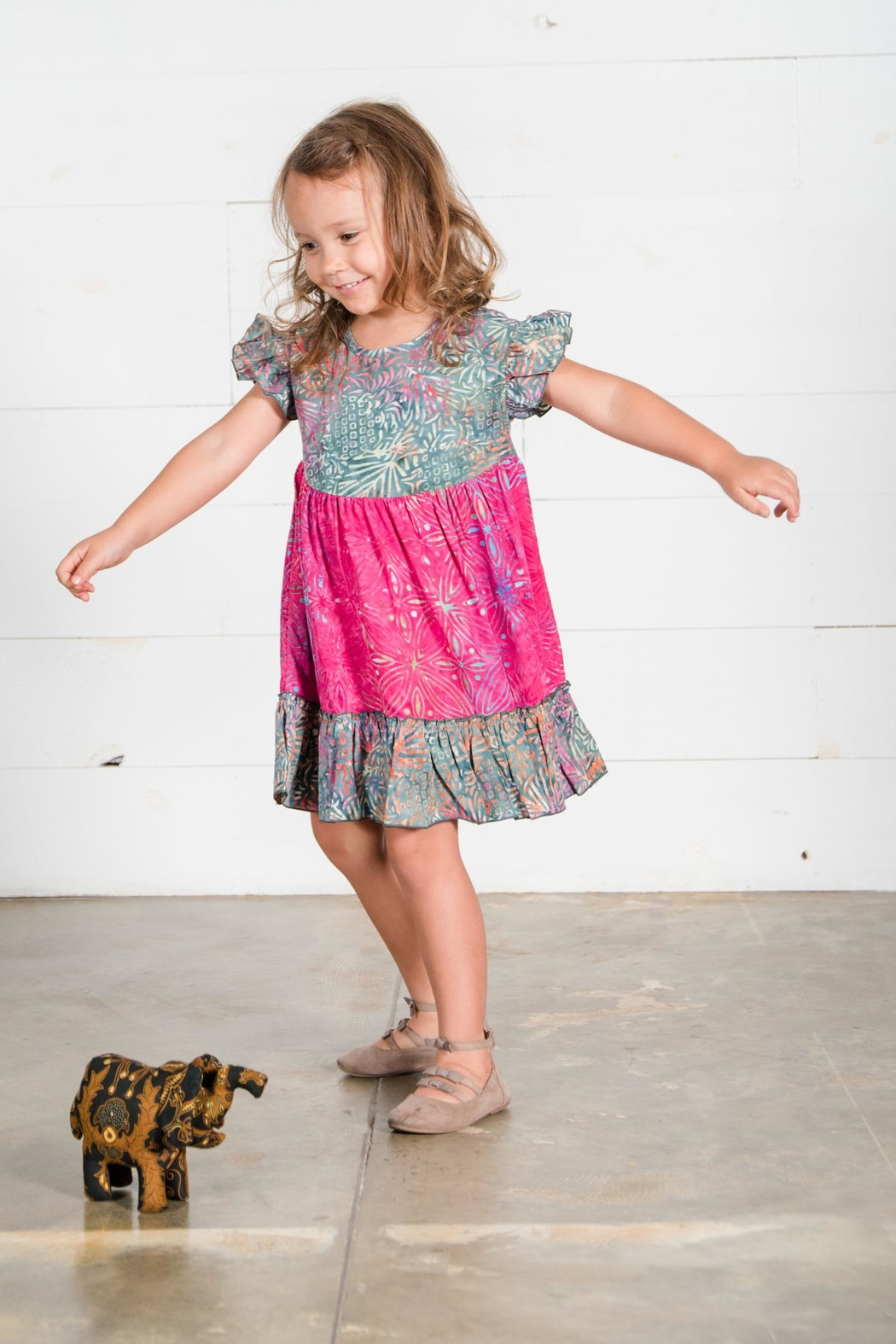 Go Fish Clothing Floral Girls Dress - Front Full Image