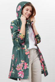 Joules Floral Green Go Lightly Packaway Rainjacket - Product Mini Image