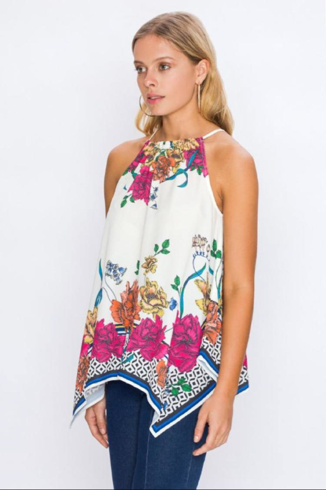 Jealous Tomato Floral Handkerchief Top - Front Full Image