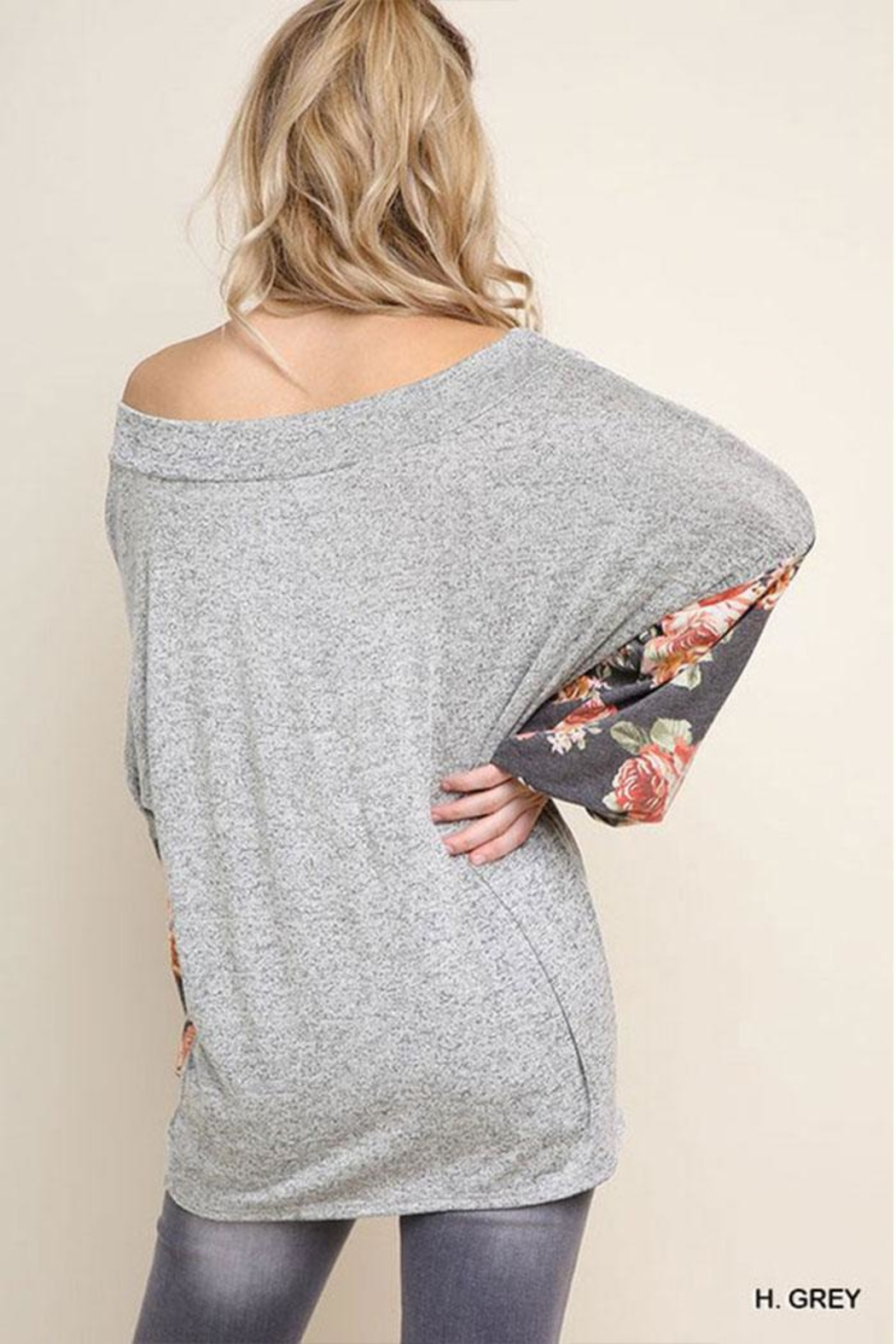 Umgee USA Floral Heathered Tunic - Front Full Image