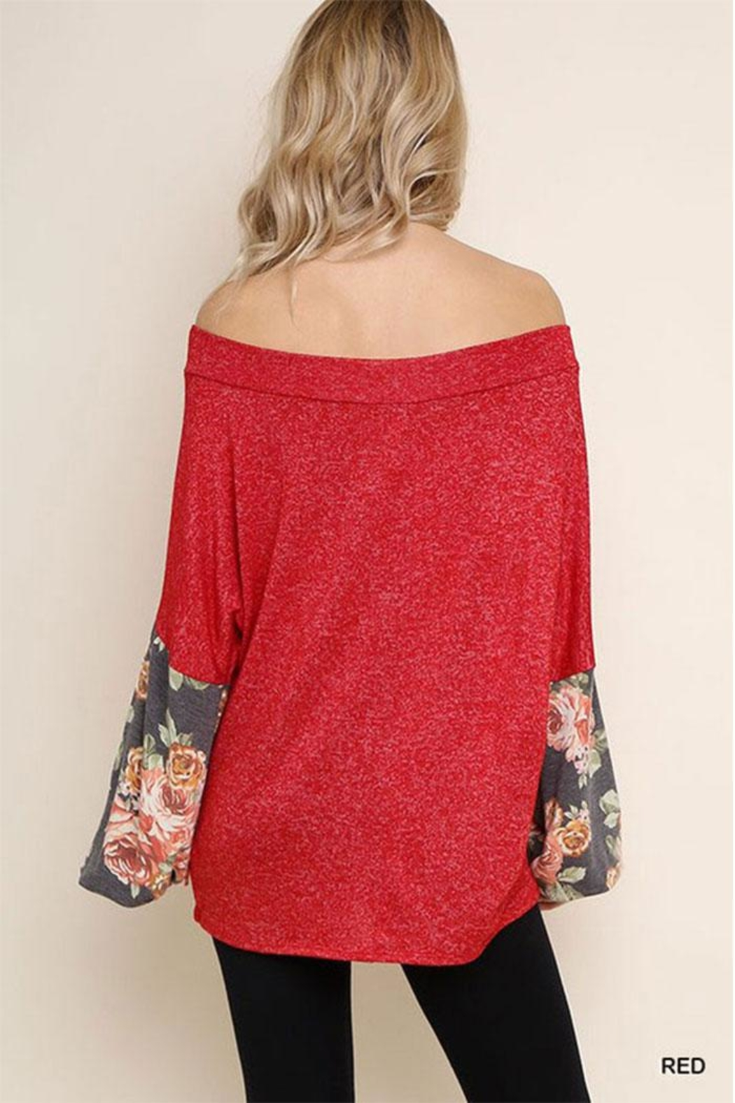 Umgee USA Floral Heathered Tunic - Side Cropped Image
