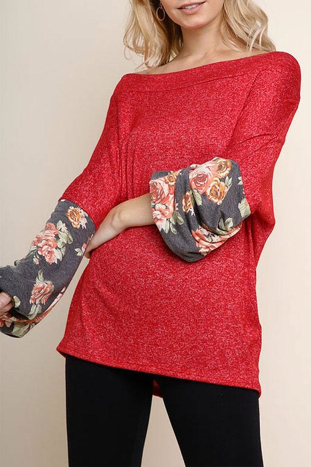 Umgee USA Floral Heathered Tunic - Front Cropped Image