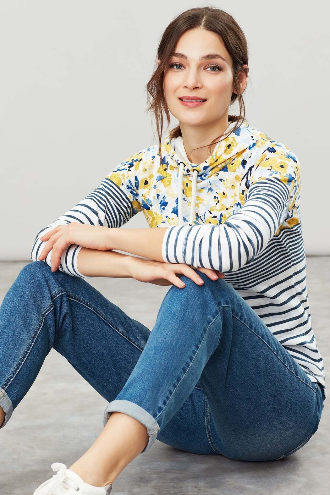 Joules Floral Hooded Sweatshirt - Front Full Image