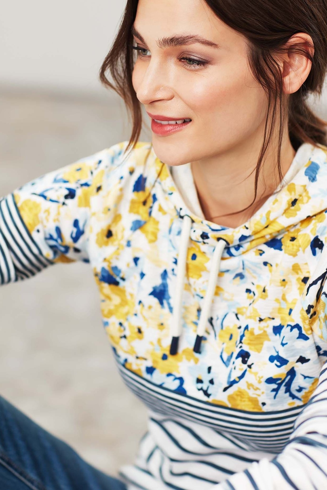 Joules Floral Hooded Sweatshirt - Back Cropped Image