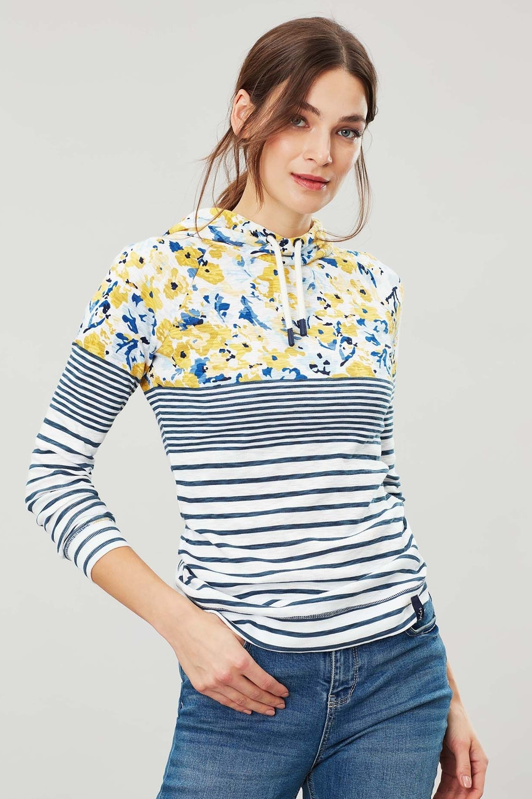 Joules Floral Hooded Sweatshirt - Front Cropped Image