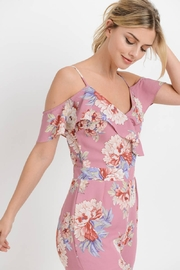 Paper Crane Floral Jumpsuit with Ruffled Cold Shoulder - Product Mini Image