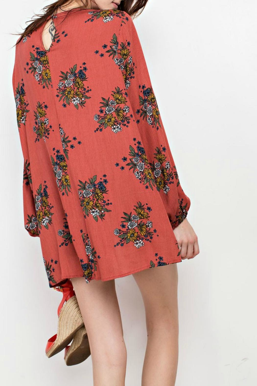 easel Floral Keyhole Tunic - Front Full Image