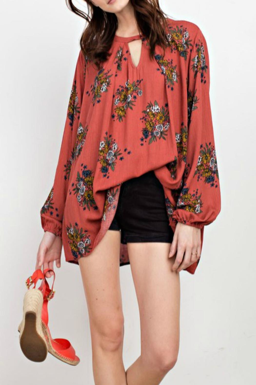 easel Floral Keyhole Tunic - Main Image