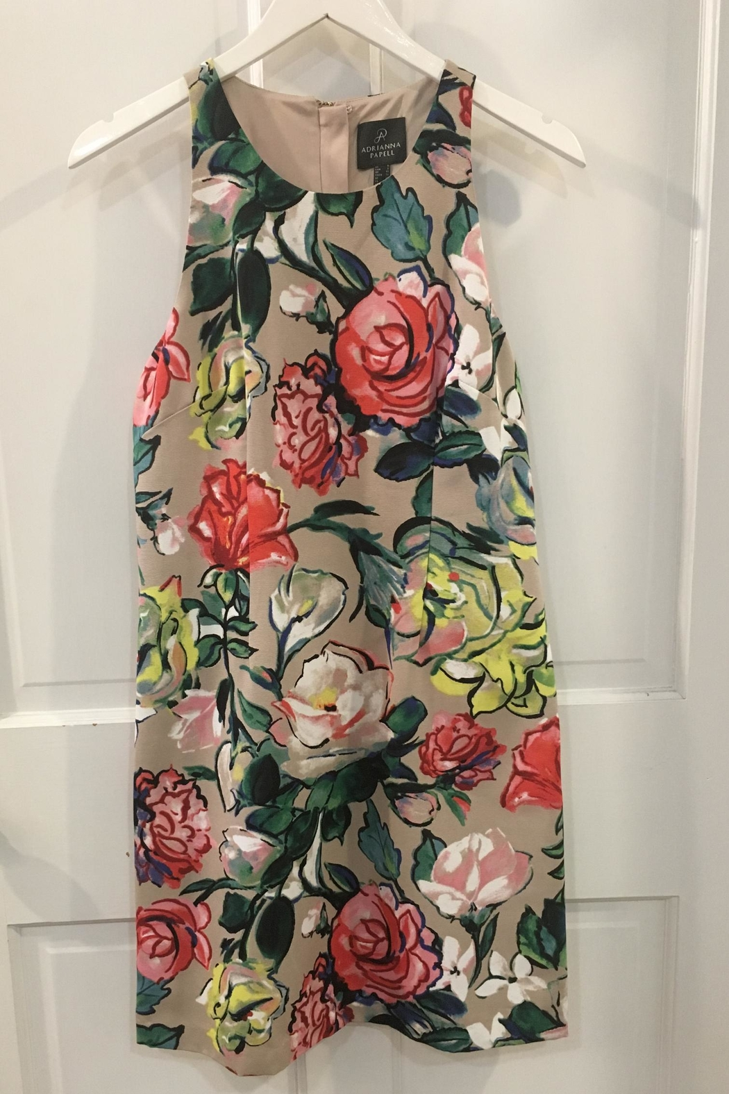 Adrianna Papell Floral Khaki Dress - Front Full Image