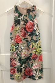 Adrianna Papell Floral Khaki Dress - Front full body
