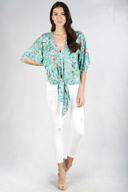 Lovestitch floral kimono sleeve top - Front cropped