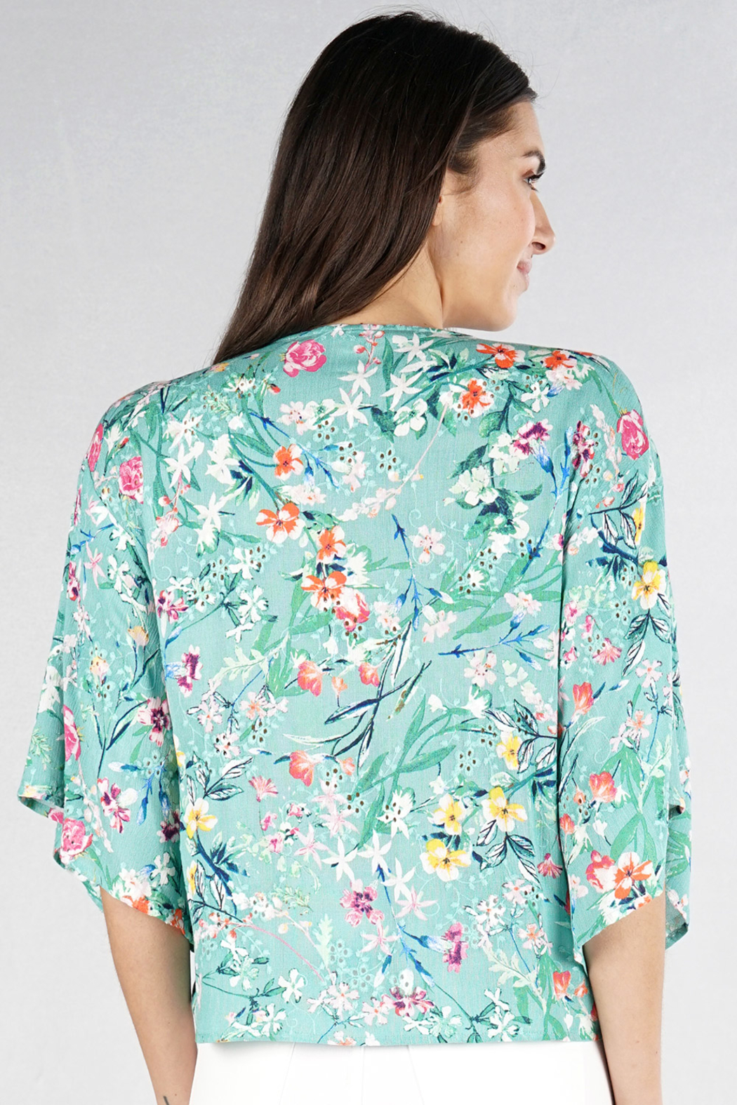 Lovestitch floral kimono sleeve top - Side Cropped Image