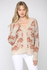Fate Inc. Floral Knit Distressed Cardigan - Product Mini Image