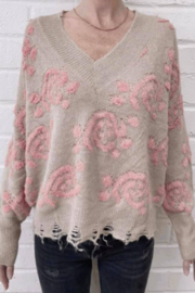 Fate Inc. Floral Knit Distressed Hem Sweater - Product Mini Image