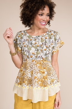 Ivy Jane  Floral Knit & Woven Fabric Combo Tee - Alternate List Image