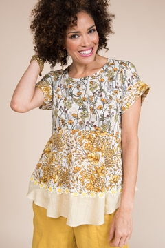 Ivy Jane  Floral Knit & Woven Fabric Combo Tee - Product List Image