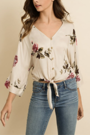 Dress Forum  Floral Knot-Front Top - Product Mini Image