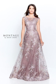 Montage Floral Lace A-Line Gown, Pink Topaz - Product Mini Image