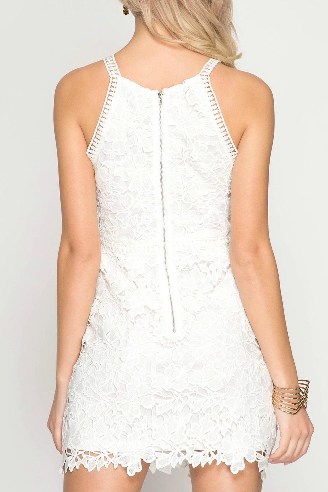 She + Sky Floral Lace Dress - Front Full Image