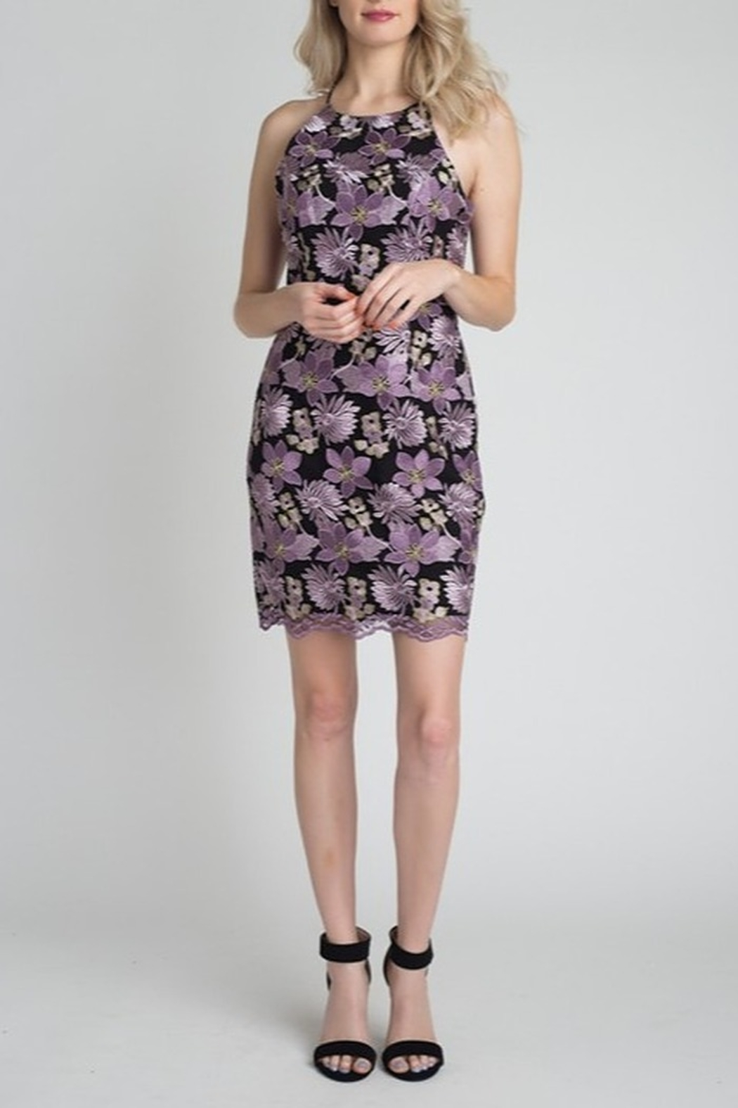 Minuet Floral Lace Dress - Side Cropped Image