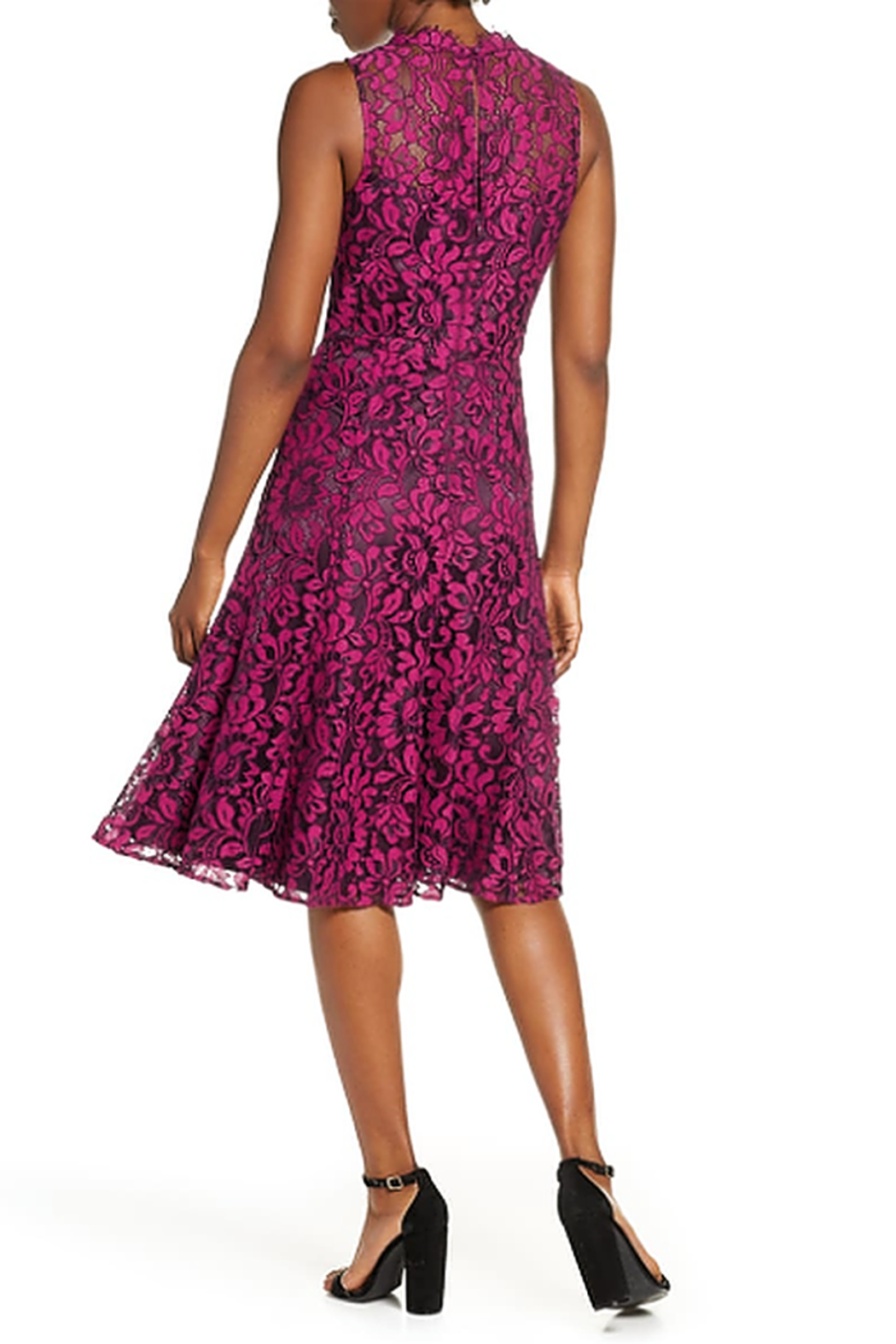 Eliza J Floral Lace Fit & Flare Dress - Front Full Image