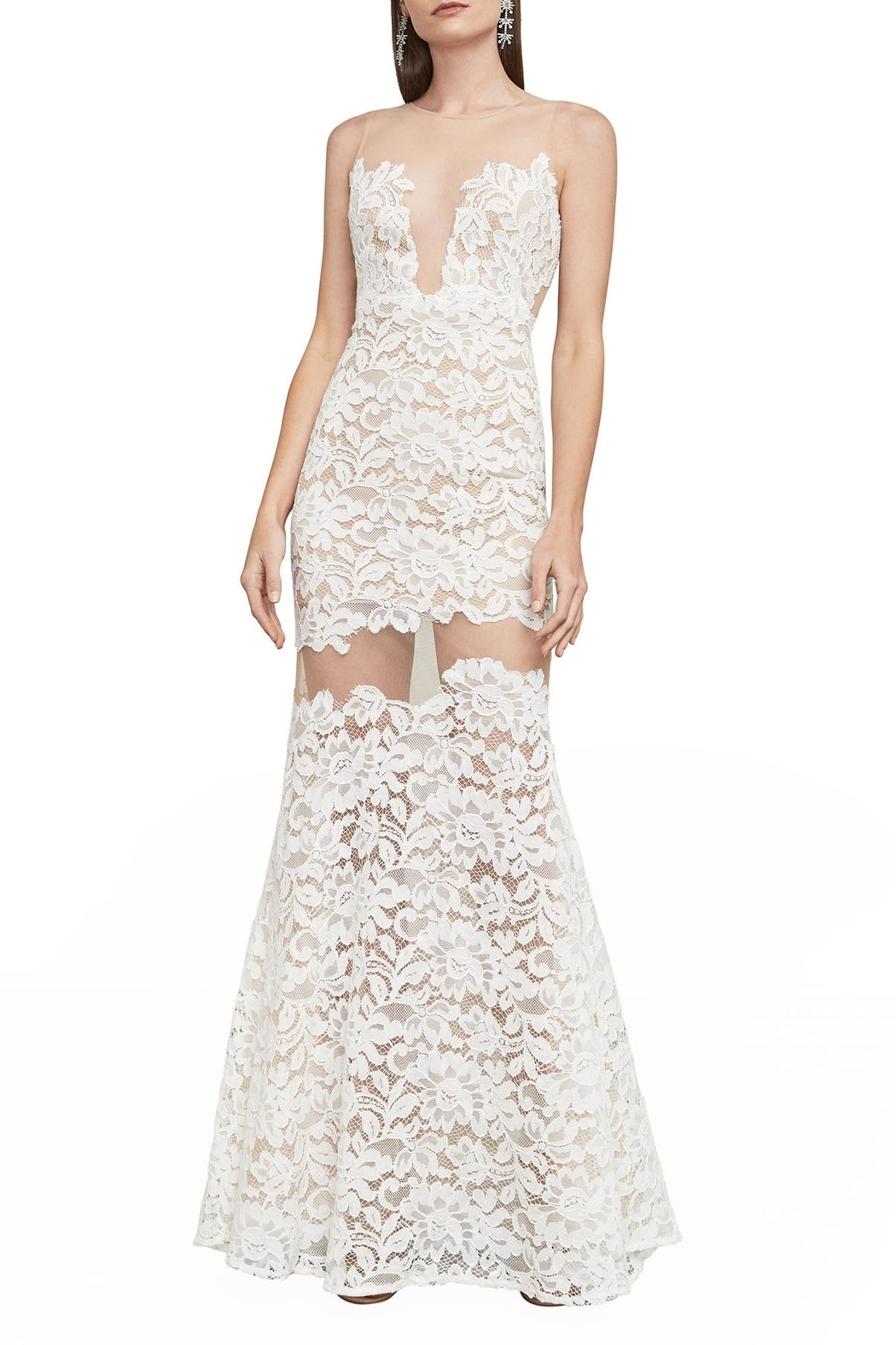 BCBG MAXAZRIA Floral Lace Gown - Front Full Image
