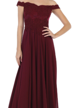 Cindy Collection Long Floral Lace Gown - Alternate List Image