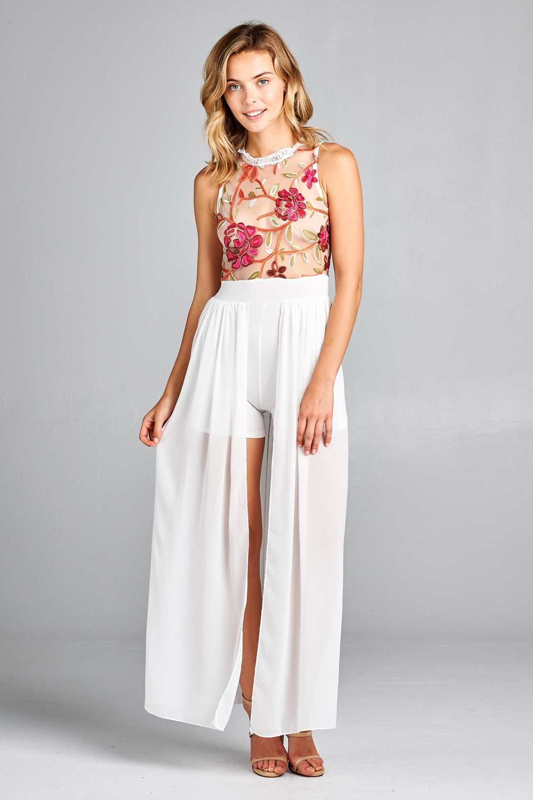 Racine Floral Lace Romper-Maxi - Back Cropped Image