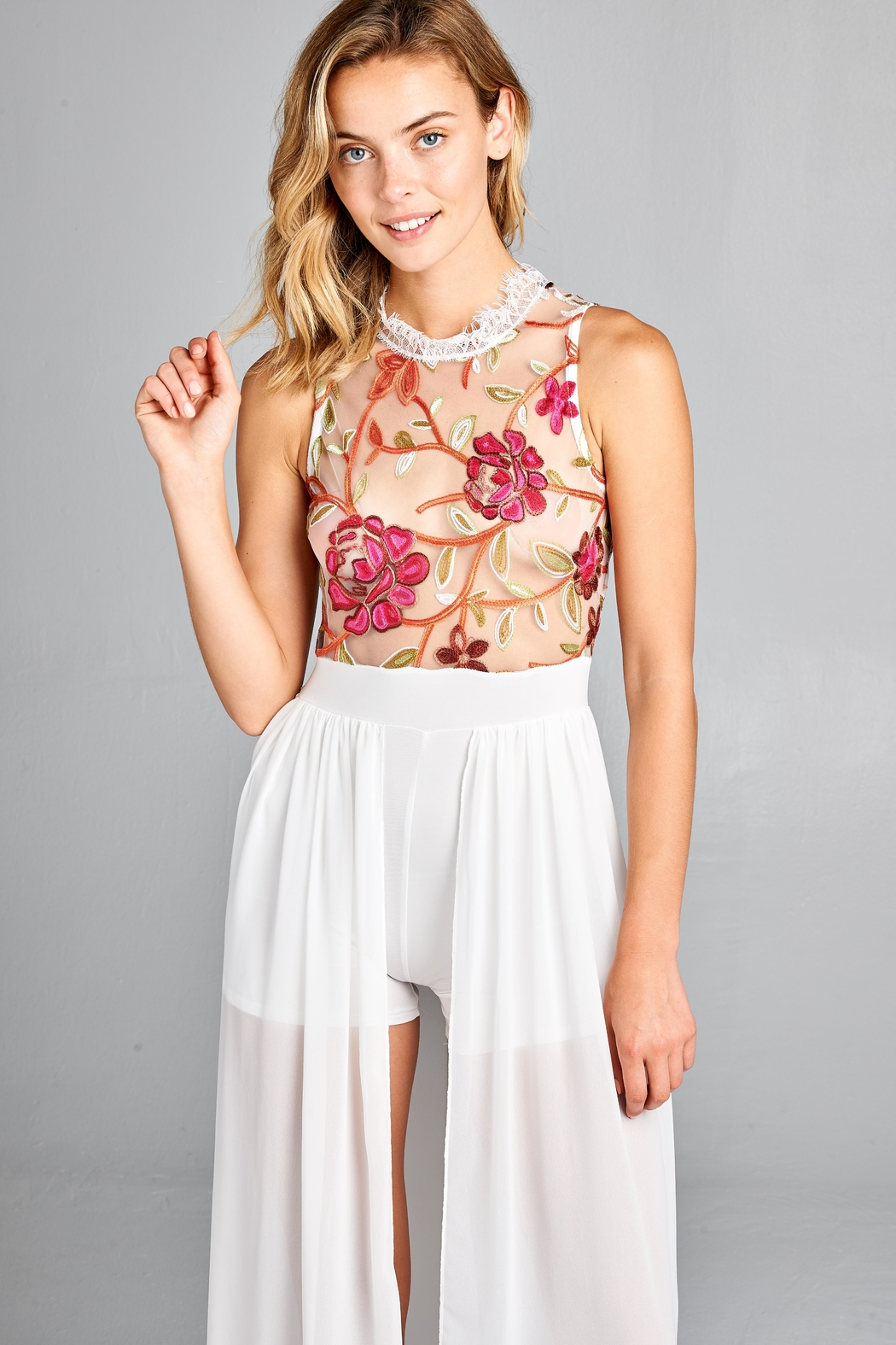 Racine Floral Lace Romper-Maxi - Front Full Image