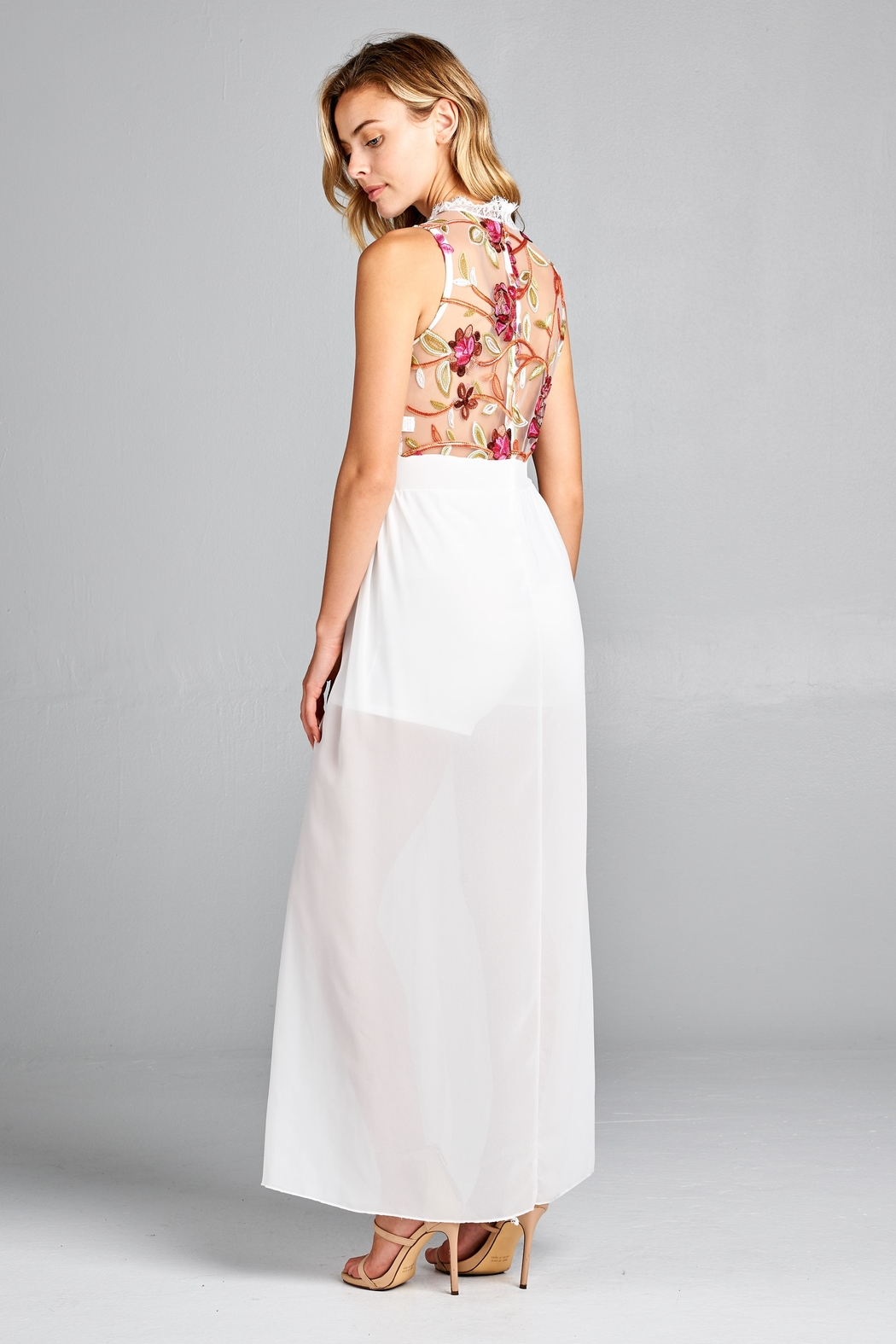 Racine Floral Lace Romper-Maxi - Side Cropped Image