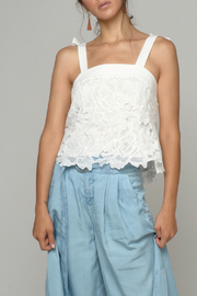 CISTAR Floral Lace Shoulder Tie Top - Product Mini Image
