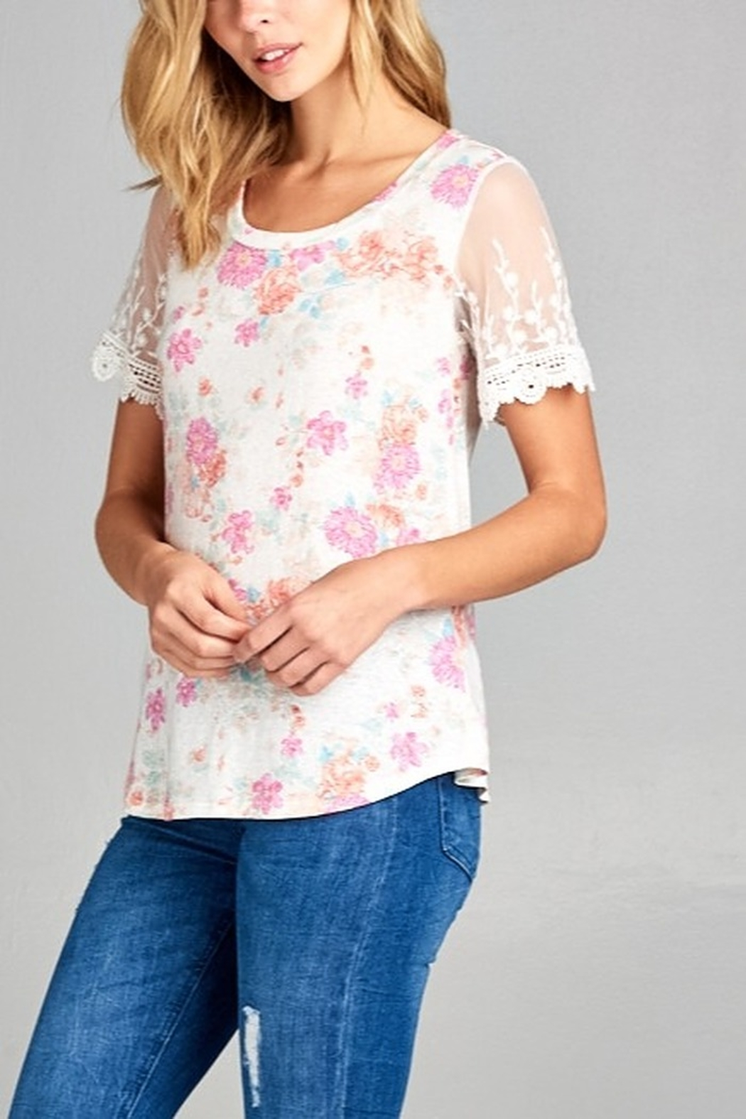 Lyn-Maree's  Floral & Lace Tee - Main Image