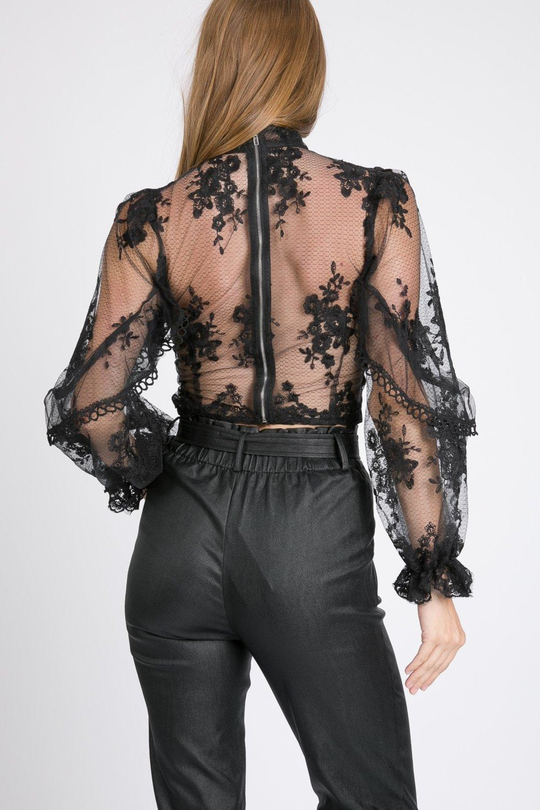 A Peach Floral Lace Top - Front Full Image