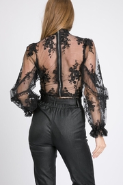 A Peach Floral Lace Top - Front full body
