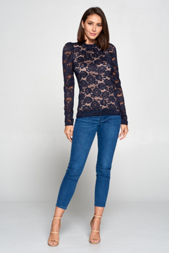 Renee C Floral Lace Top with Ruffle Neck and Back Keyhole - Alternate List Image