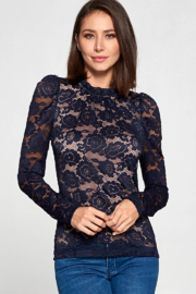 Renee C Floral Lace Top with Ruffle Neck and Back Keyhole - Product Mini Image