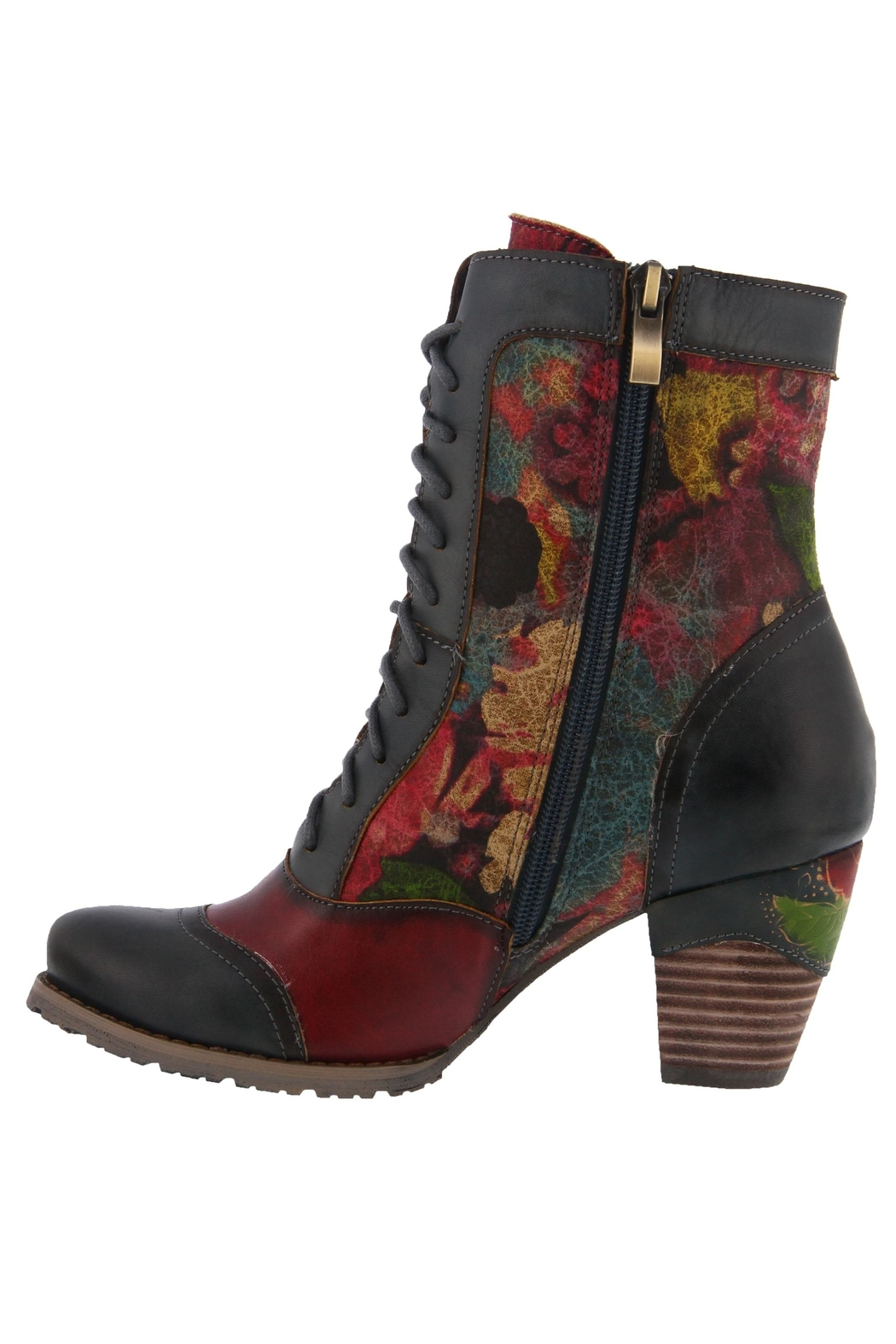 Spring Footwear Floral Lace-Up Bootie - Front Full Image