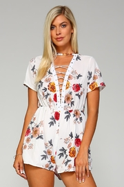 Racine Floral Lace-Up Romper - Product Mini Image