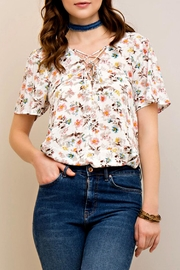 Entro Floral Lace-Up Top - Product Mini Image