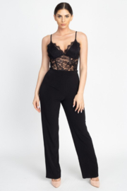 iris Floral Lace V Neck Jumpsuit - Product Mini Image