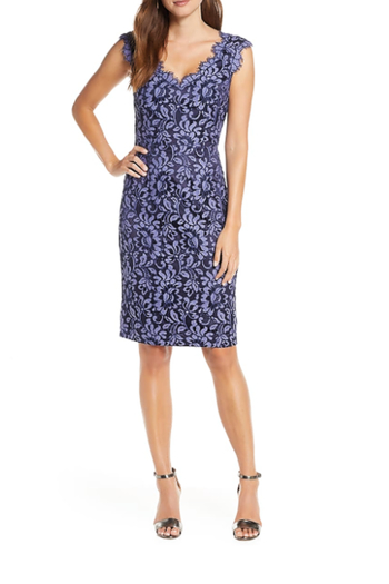 Eliza J Floral Lace V-Neck Sheath Dress from Ohio by e.j. hannah — Shoptiques