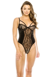 Youmita Floral Lace-Velvet Front -Mesh Back Teddy - Front cropped