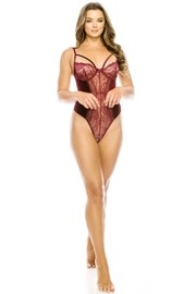 Youmita Floral Lace-Velvet Front -Mesh Back Teddy - Front full body