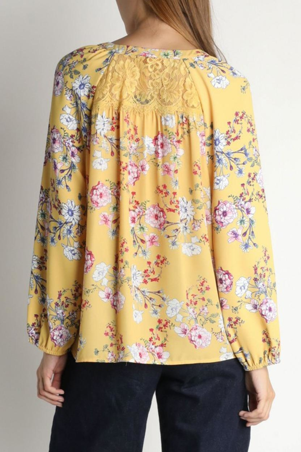 Skies Are Blue Floral Lacey Blouse - Front Full Image