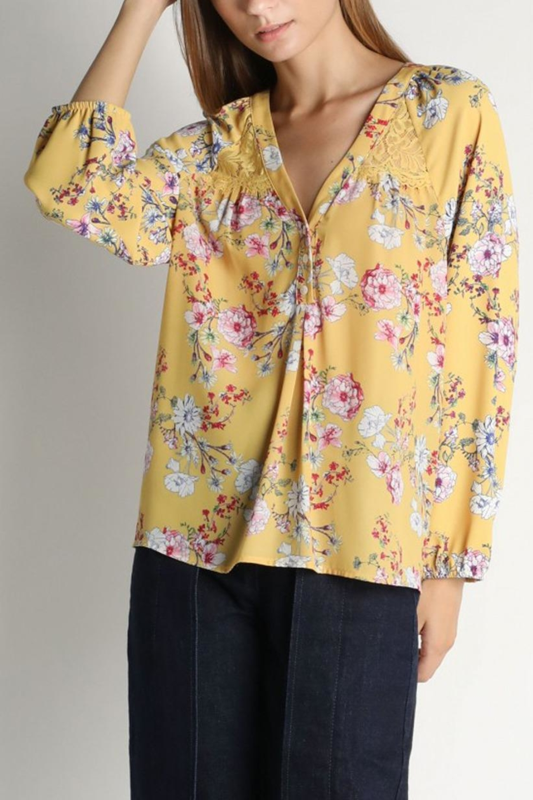 Skies Are Blue Floral Lacey Blouse - Main Image