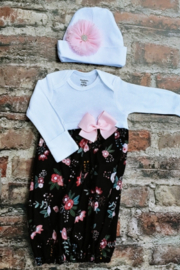 Posh Floral Layette Gown with Pink Side Bow - Product Mini Image