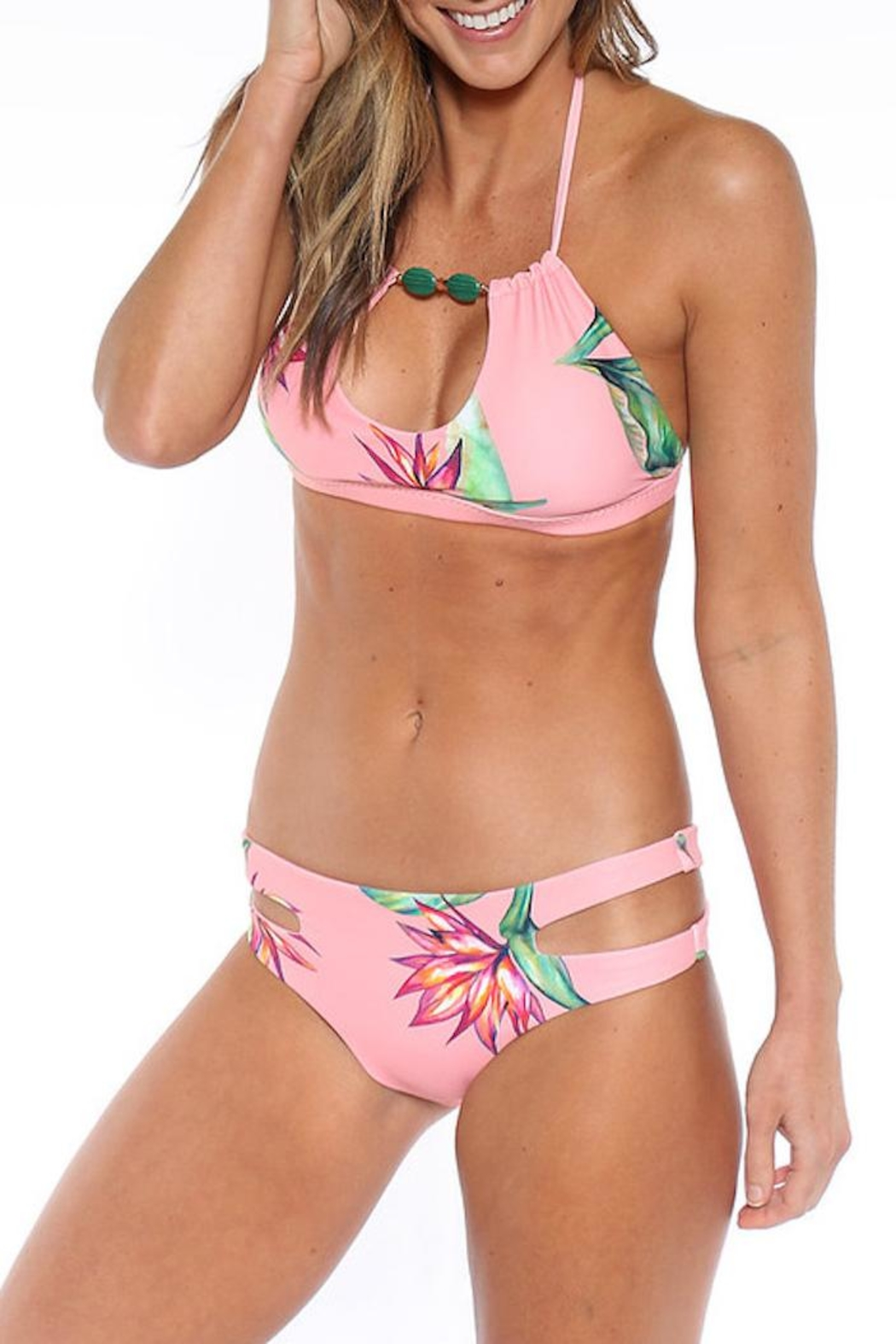 Azure Swimwear Floral Maldives Top - Side Cropped Image
