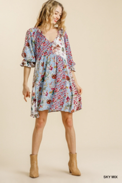 umgee  Floral Mandarin Collared Puff Sleeves - Product List Image