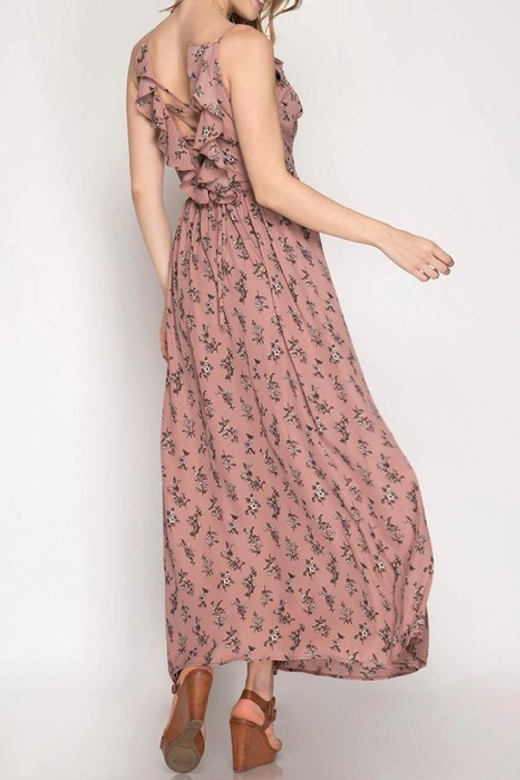 She + Sky Floral Maxi Dress - Front Full Image